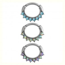 Steel Basicline® – Hinged Septum Opal Prong