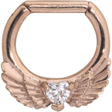 Steel Roseline - Wing Heart Septum Rose Gold