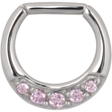 Steel Basicline® - Colourful Jewelled Hinged Septum